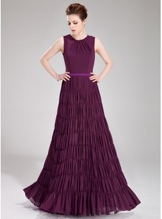 A-Line/Princess Scoop Neck Floor-Length Chiffon Charmeuse Evening Dress With Sash