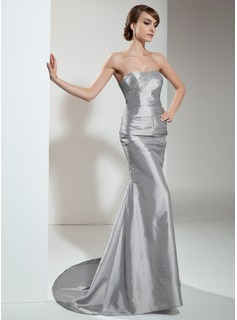 Mermaid Sweetheart Sweep Train Taffeta Evening Dress With Ruffle Beading