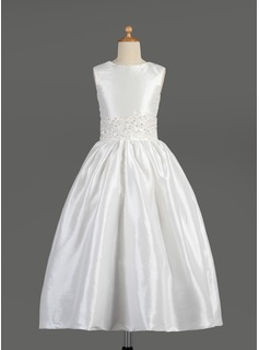 A-Line/Princess Scoop Neck Ankle-Length Taffeta Flower Girl Dress With Lace Beading Sequins