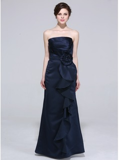 Sheath Strapless Floor-Length Satin Bridesmaid Dress With Ruffle Flower(s)
