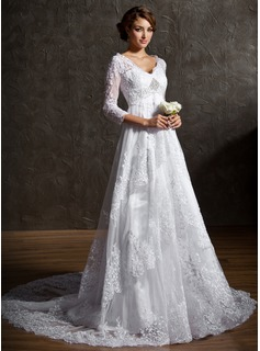 A-Line/Princess V-neck Court Train Satin Lace Wedding Dress With Lace Beadwork Sequins (002004758)
