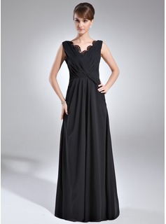 A-Line/Princess V-neck Floor-Length Chiffon Mother of the Bride Dress With Ruffle Lace