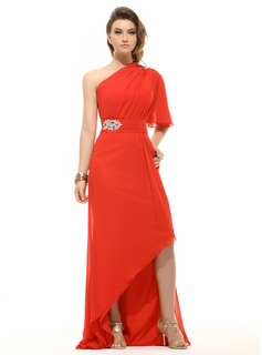 A-Line/Princess One-Shoulder Asymmetrical Chiffon Holiday Dress With Ruffle Beading