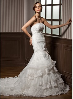 Mermaid Strapless Cathedral Train Organza Wedding Dress With Ruffle Lace