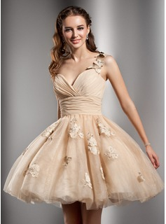 A-Line/Princess One-Shoulder Knee-Length Chiffon Tulle Homecoming Dress With Ruffle Beading Flower(s) (022020672)
