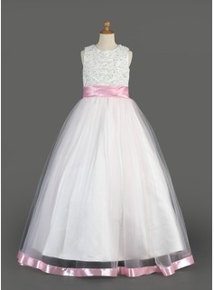 A-Line/Princess Scoop Neck Floor-Length Organza Charmeuse Flower Girl Dress With Sash Beading Sequins