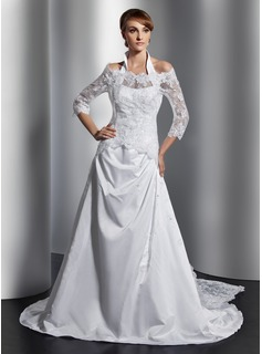 A-Line/Princess Halter Court Train Satin Wedding Dress With Ruffle Beading