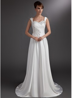 A-Line/Princess Sweetheart Court Train Satin Chiffon Wedding Dress With Ruffle Beading Appliques Lace