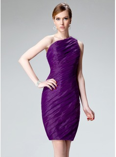 Sheath One-Shoulder Knee-Length Organza Cocktail Dress With Ruffle