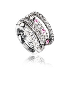 Personalized Alloy/Platinum Plated With Rhinestone Ladies' Rings