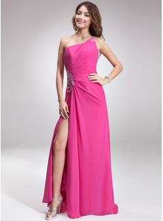 A-Line/Princess One-Shoulder Sweep Train Chiffon Holiday Dress With Ruffle Beading