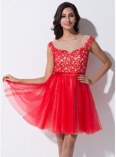 A-Line/Princess Scoop Neck Short/Mini Tulle Charmeuse Lace Homecoming Dress