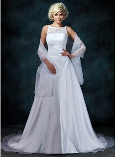 A-Line/Princess Scoop Neck Chapel Train Organza Satin Wedding Dress With Lace Beading