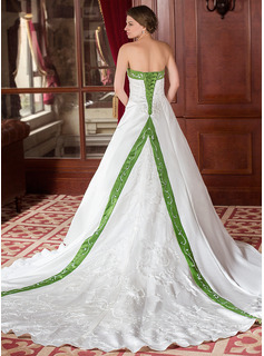 A-Line/Princess Strapless Royal Train Satin Wedding Dress With Embroidery Sashes Beadwork