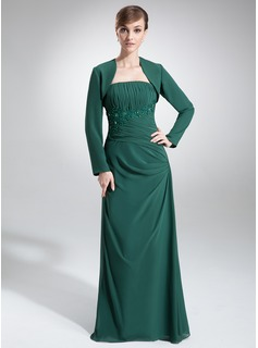A-Line/Princess Strapless Floor-Length Chiffon Mother of the Bride Dress With Ruffle Lace Beading Sequins
