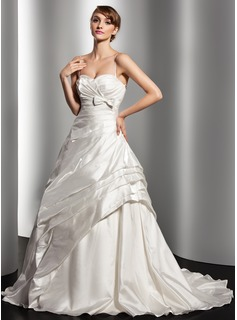 Ball-Gown Sweetheart Court Train Taffeta Wedding Dress With Ruffle Bow(s)