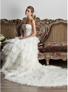 Ball-Gown Strapless Chapel Train Satin Tulle Wedding Dress With Ruffle Lace Beadwork Sequins