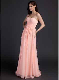 Empire Sweetheart Sweep Train Chiffon Maternity Bridesmaid Dresses With Ruffle