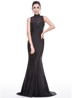 Trumpet/Mermaid High Neck Sweep Train Lace Jersey Evening Dress
