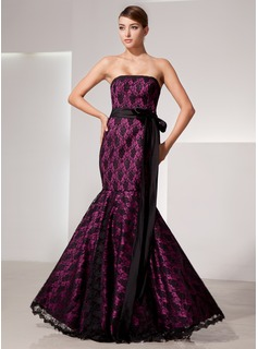 Mermaid Strapless Floor-Length Charmeuse Lace Evening Dress