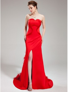 Sheath Sweetheart Court Train Satin Evening Dress With Feather (017019568)