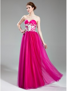 A-Line/Princess Sweetheart Floor-Length Tulle Prom Dress With Beading Appliques Flower(s)