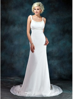 Empire Scoop Neck Court Train Chiffon Wedding Dress With Ruffle Beading