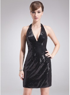 Sheath Halter Short/Mini Sequined Cocktail Dress