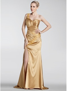 A-Line/Princess One-Shoulder Sweep Train Charmeuse Holiday Dress With Ruffle Beading Appliques