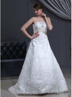 A-Line/Princess Strapless Court Train Satin Lace Wedding Dress With Sash Beading Bow(s)