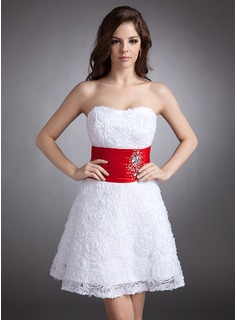 A-Line/Princess Sweetheart Short/Mini Charmeuse Lace Homecoming Dress With Ruffle Sash Beading