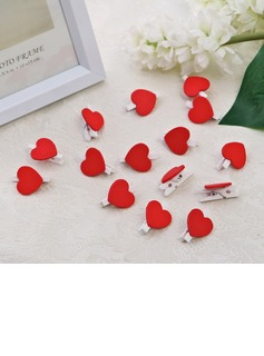 Heart Design Wooden Clip (set of 50)
