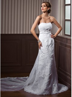 Empire Sweetheart Watteau Train Satin Tulle Wedding Dress With Ruffle Lace Beadwork