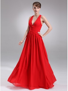 A-Line/Princess V-neck Floor-Length Chiffon Evening Dress With Ruffle (017022544)