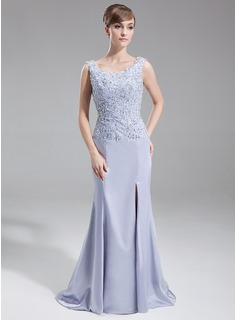Trumpet/Mermaid Scoop Neck Sweep Train Charmeuse Mother of the Bride Dress With Lace Beading Sequins