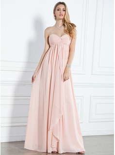 Empire Sweetheart Gulvlang Chiffon Aftenkjoler med Flsekanter (017004359)