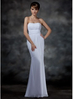 Mermaid Sweetheart Floor-Length Chiffon Evening Dress With Ruffle (017022546)
