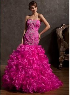 Trumpet/Mermaid Sweetheart Sweep Train Organza Satin Prom Dress With Beading Sequins Cascading Ruffles