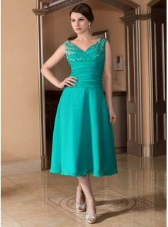 A-Line/Princess V-neck Tea-Length Chiffon Bridesmaid Dress With Ruffle Beading (008024533)