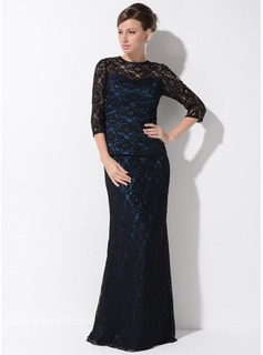 Trumpet/Mermaid Scoop Neck Floor-Length Charmeuse Lace Mother of the Bride Dress