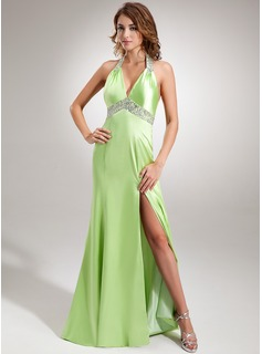 A-Line/Princess Halter Sweep Train Charmeuse Evening Dress With Ruffle Beading Sequins