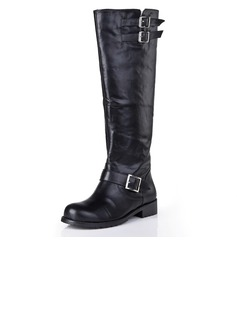Real Leather Low Heel Knee High Boots With Buckle shoes