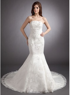 Trumpet/Mermaid Strapless Chapel Train Satin Wedding Dress With Lace Beading Sequins