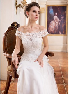 A-Line/Princess Off-the-Shoulder Sweep Train Tulle Charmeuse Lace Wedding Dress With Ruffle Beading Sequins