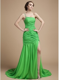 A-Line/Princess One-Shoulder Court Train Chiffon Holiday Dress With Ruffle Beading Split Front