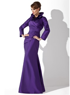Mermaid High Neck Floor-Length Taffeta Mother of the Bride Dress With Ruffle