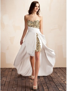 A-Line/Princess Sweetheart Asymmetrical Taffeta Prom Dress With Beading Sequins Cascading Ruffles