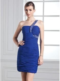 Sheath One-Shoulder Short/Mini Chiffon Holiday Dress With Ruffle Beading