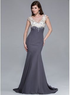 Mermaid V-neck Sweep Train Chiffon Charmeuse Prom Dress With Beading