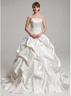 Ball-Gown Strapless Chapel Train Tulle Charmeuse Wedding Dress With Ruffle Beadwork